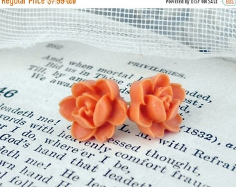On Sale Cantaloupe Orange Rose, Cottage Resin Rose Post Earrings, HollywoodHillbilly