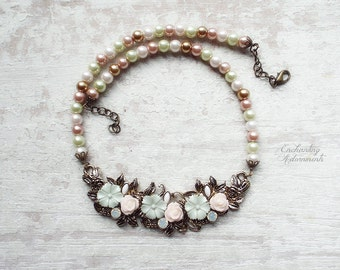 English Garden .:. Vintage brass Victorian inspired necklace with enameled flowers and beaded glass pearls