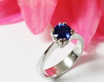 Sapphire Ring Engagement Ring Solitaire Ring 14K White gold September Birthstone
