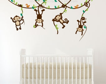 Monkey on a branch - Baby Boy Monkey Wall Decals, Monkey Decal, Childrens Decals Nursery Wall Decal custom colors re usable fabric decals