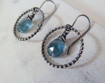 Teal Moss Aquamarine Circle earrings. Silver beaded hoop. March birthstone. Aquamarine earrings. Christmas gift. Blue Aquamarine