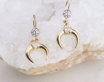 Gold Cubic Zirconia Crescent Moon Dangle Earrings, Bridesmaid Gift, Gift for Her, Gold Moon Earrings, Boho Earrings, Moon CZ Earrings
