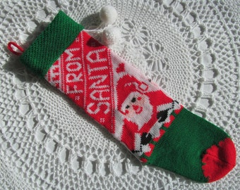Vintage Machine Knit Christmas Stocking From Santa Claus Pom Poms Red Green White 18""