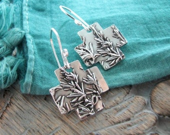 Page Two, Fine Silver Botanical Earrings, Desert Sage, Southwest Plant Reproduction, Handmade by SilverWishes