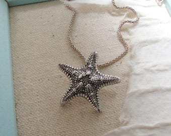 Sea Star, Fine Silver Pendant, Handmade, Recycled Silver, Beach Jewelry