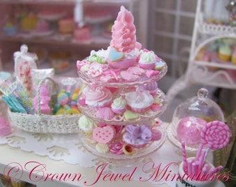 "1:12 Luxury Valentine's Day ""Romance Tower"" Dessert Server by IGMA Artisan Robin Brady-Boxwell - Crown Jewel Miniatures"