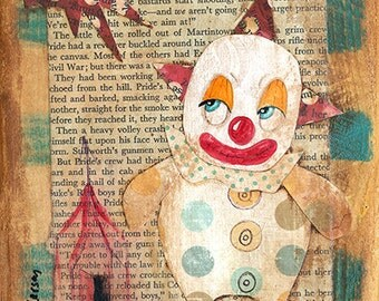 Original Primitive Outsider Art Painting Humorous Silly Clown Happy Day
