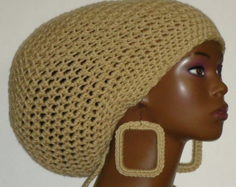 Oatmeal Crochet Large Tam Cap Hat with Drawstring and Earrings Dreadlocks Rasta Tam by Razonda Lee Razondalee