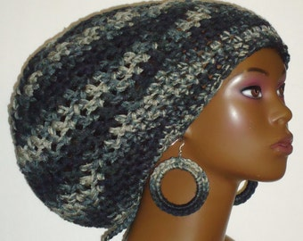 City Chick Chunky Crochet Large Tam with Drawstring and Earrings by Razonda Lee Razondalee Locs Dreadlocks