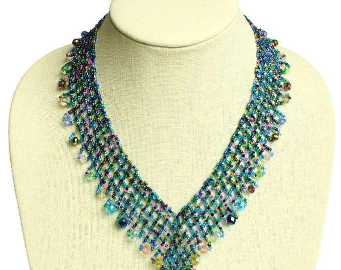Hand beaded blue multicolored lattice necklace, magnetic clasp, 19 inches #176