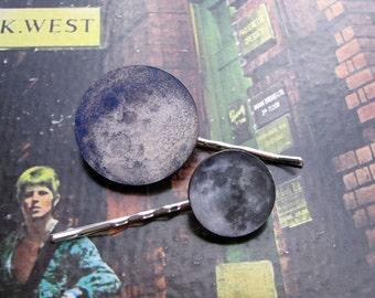 full moon hairpin set - 2 hair pins . moon hair clip jewelry . bohemian hair accessories
