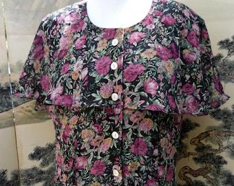 1980s Plus Size Vintage Sheer Summer Spring Floral Dress sz 14  Volup by Kristie Michaels