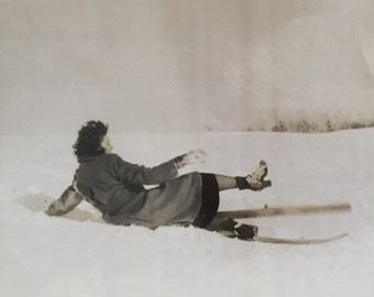 1937 Vintage Ski Photo - Skier Photograph - Collectible - Old Photo - Paper Ephemera - Ski - Women Ski