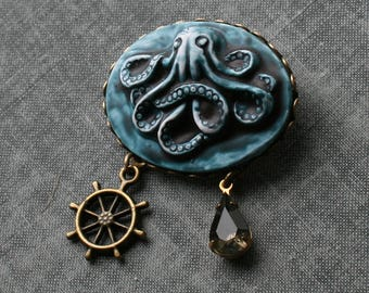 Octopus Cameo Brooch, Octopus Broach, Octopus Brooch, Octopus Cameo Broach, Blue, Steampunk Octopus Brooch, Steampunk Cameo