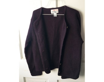 Vintage Plum Boiled Wool Sweater 1980s Tally Ho Button Front Cardigan Size M Medium