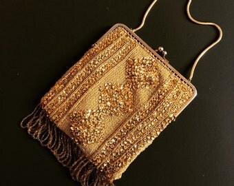 RESERVED for JIAHUI  20s or 30s French Gold Beaded and Sequined Purse