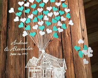 3D Wedding guestbook alternative House with adhesive hearts, Movie UP guestbook theme, House UP themed wedding, tiffany blue and white teal