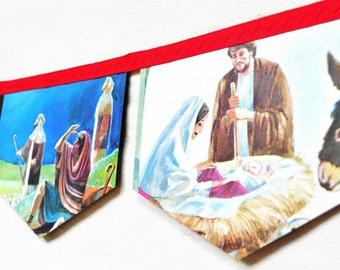 ANIMALS CHRISTMAS EVE BannerVintage Little Golden Book storybook garland Children Christian Religous Jesus nativity christmas Decoration