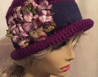 Downton Abbey Style Crocheted Hat...Velvet Blossoms on a Purple Hat with a Navy Blue Band