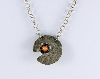 Handcrafted Sterling Silver Lilypad and Peach Moonstone Pendant Hammered Patina Surface OOAK Contemporary Artisan jewelry 2568586661516