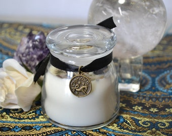 CAPRICORN Saturn Zodiac Astrological Soy Candle Essential Oils Herbs Crystal Magick