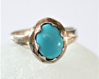 Vintage turquoise and sterling silver ring.  UK size O 1/2. US size 7 3/4