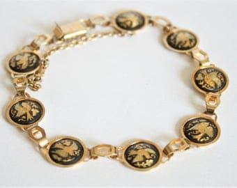 Vintage damascene bracelet. Bird bracelet. Black and gold bracelet