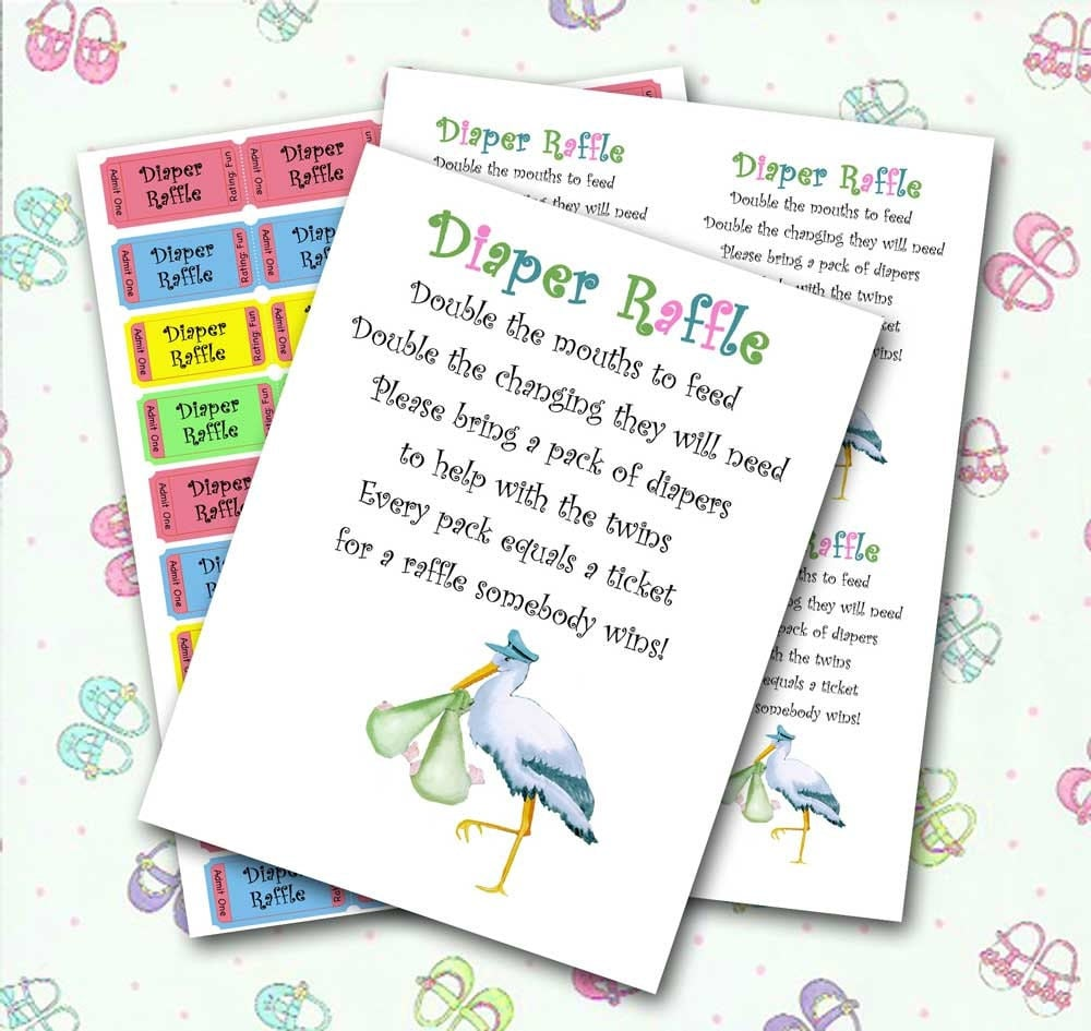 Baby Shower Diaper Raffle: Twin Diaper Raffle Baby Shower Invitation Insert And Raffle