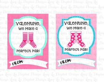 SOCKS BUNDLE Valentine Cards - Kids Valentine Cards- PRINTABLE Valentine Cards