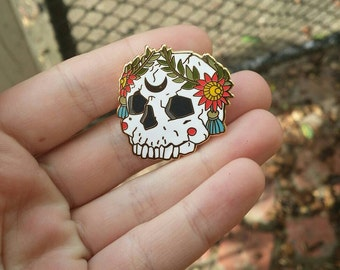 Ornate Skull Hard Enamel Pin with Floral Wreath, skull pin, goth pin, punk pin, moon pin, pins, lapel pin, medieval pin, metal pin
