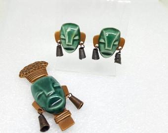 Elzac Tribal Warriors Brooch and Screw back earrings Elliot Handler 1940 Hollywood Copper Set Parure Ceramic