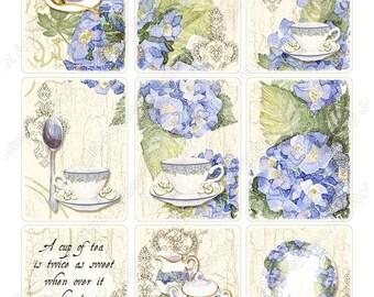 Watercolor Digital Blue Hydrangea Tea Original Art Atc Tag Collage Sheets AJR-035 pot cup blue hydrangea spoon ephemera lace tea cups floral