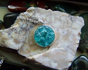 Neon Blue Apatite Crystal Gemstones Pendant Necklace