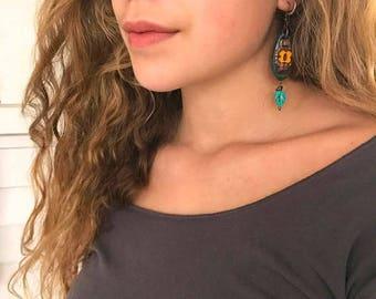 SALE clay flower EARRINGS,dangle earrings, beaded earrings,hippie earrings,folk earrings,zen earrings, funky earrings, glass  earrings Zasra