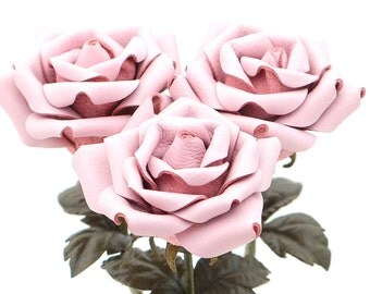 Leather rose bouquet pastel pink third Anniversary wedding gift Long Stem leather Flower Valentines 3rd Leather Anniversary Mother's Day