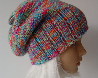 Knitted Slouchy Hat, Beanie Hat, Multicolor Hat, Rainbow
