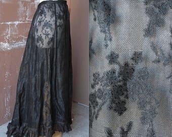 Antique Edwardian Skirt // 1900s Black Floral Lace Sheer Mesh Bustle Back Skirt // Gibson Girl Petticoat Skirt