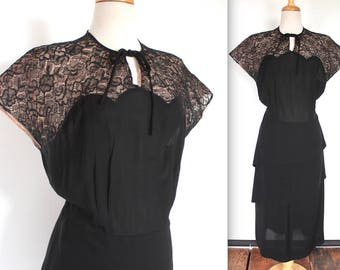 Vintage 1940's Dress // 40s Black and Rosy Nude Illusion Scalloped Lace Neckline Crepe Cocktail Dress // Bow Collar // Tiered Peplum Skirt