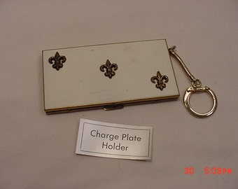 Vintage Charge Plate Holder Keychain With Flor De Lies Decorations   16 - 703