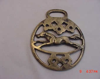 Vintage Brass Horse Harness Decoration Galloping Horse  17 - 304