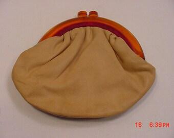 Vintage Budd Leather Creation Leather & Lucite Purse  17 - 352