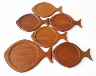 Mid-Century Modern Galatix Teak Fish Platters