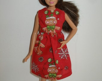 Handmade 10.5 teen fashion doll sister clothes -  red Holiday gingerbread print dress