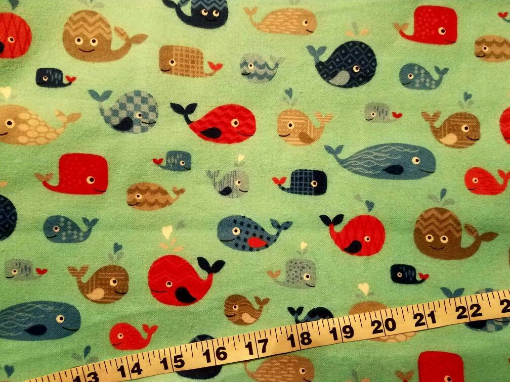 Kids flannel fabric with whales colorful bright cotton print for Bright childrens fabric