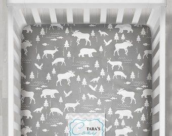 Woodland Crib Sheet /  Bear Minky Sheet - Deer MInky Sheet - WILD Sheet - Woodland Nursery - Woodland Bedding - Ships in 1-3 Days
