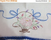 Going Out Of Business Vintage Runner-Embroidered-Vanity-Dresser Scarf-Shabby Cottage Chic-Flower Basket-Crochet