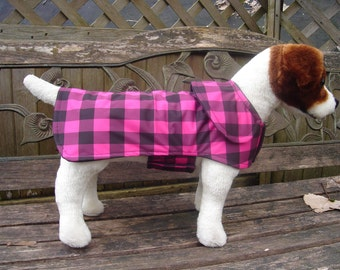 Dog Raincoat-Pink and Black Plaid Dog Coat- Small- 12 to 14 Inch Length- Or Custom Size