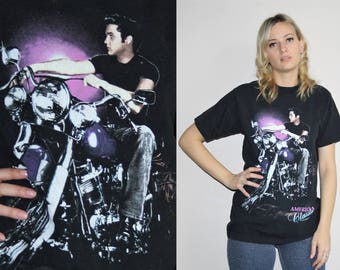 Vintage 1992 Elvis American Classic Motorcycle Rockabilly 90s T Shirt - 1990s Tees - 90s Clothing - WV0090