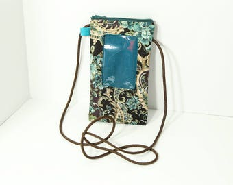 ID phone case in Teal and Brown Paisley