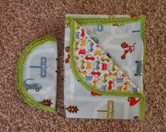 Hem Stitch Baby Boy - Cars and Stop Signs - Flannel Receiving Blanket and Burp Cloth